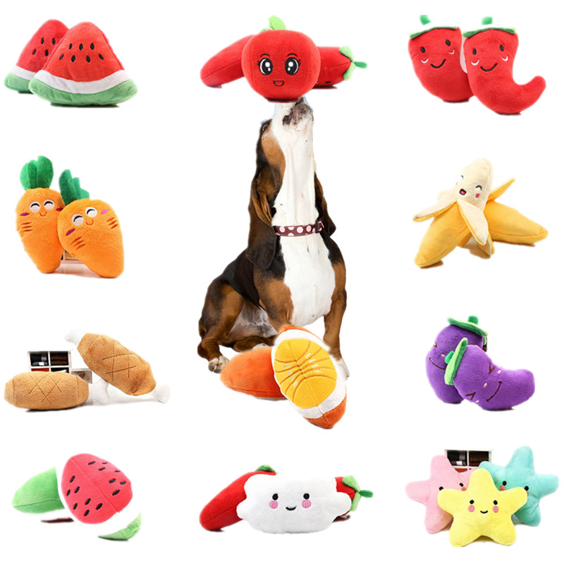 1pc Rainbow Bone Fruit Vegetable Chicken Drum Squeak Toy For Dog Puppy Plush Red Pepper Radish Duck Sounding Cat Pet Chew Toys