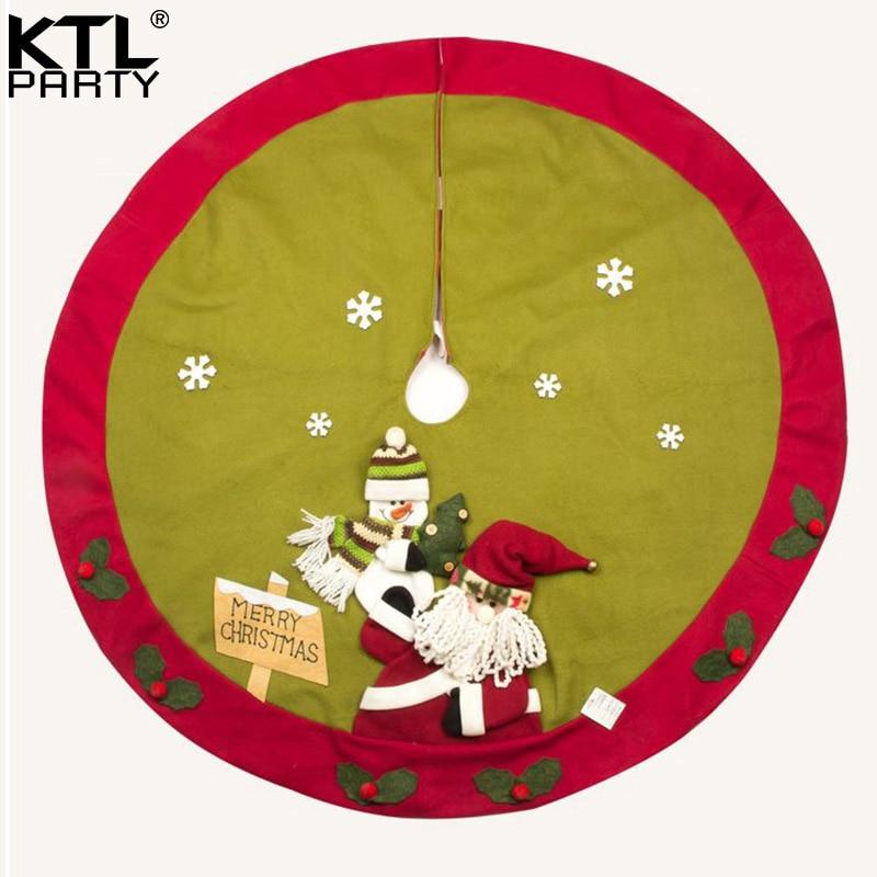 Linen Christmas Tree Skirt: KTLPARTY 120CM/47.2inch Three Dimensional Linen Christmas