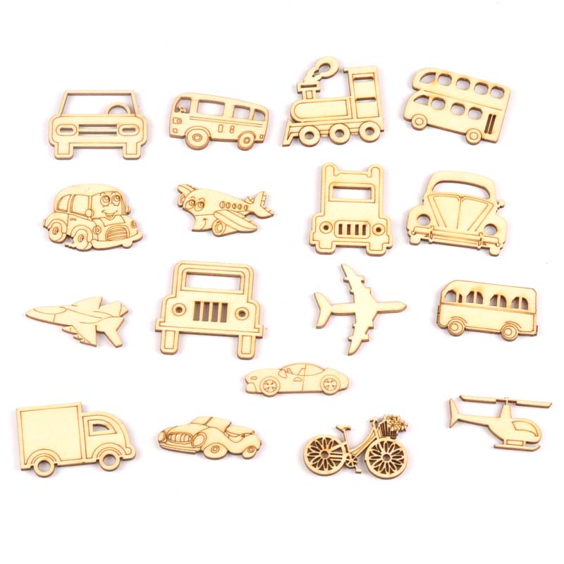 10pcs Mixed Cars And Aircraft Wooden Scrapbooking Art Collection Craft For Handmade Accessory Sewing Home Decoration M2137