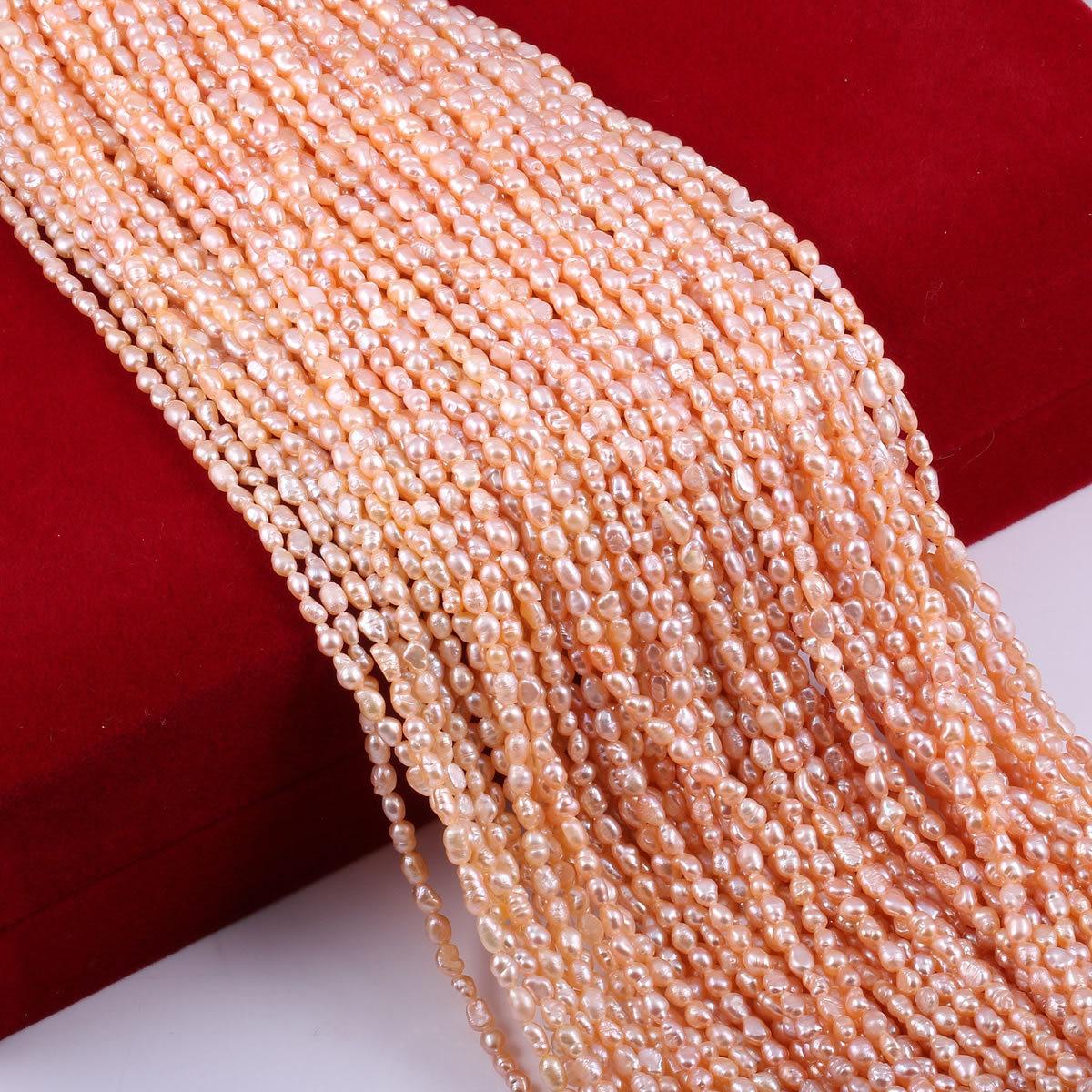 Бусы из натурального пресноводного жемчуга, маленький размер, высокое качество, 36 см., бусины для рукоделия, для женщин, ожерелье, браслет, изготовление ювелирных изделий - Цвет: Белый