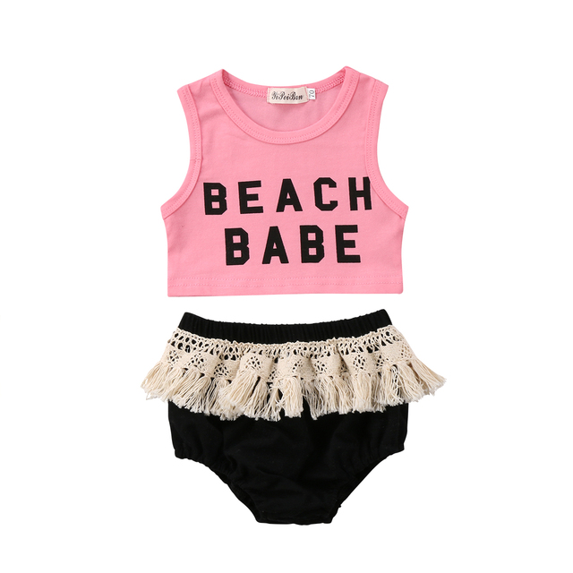 2b0f0e4bd7834 2Pcs Newborn Kids Baby Girls 2018 Crop Top Sleeveless Beach Babe Pink  T-shirt Tassels Black Shorts Outfits Set Cute Clothes