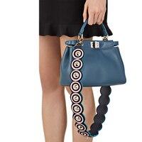 New Block Color Leather Handbag Accessories Rivet Strap You Bag Straps Wide PU Women Shoulder Belt