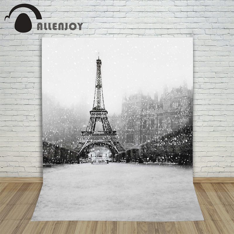Allenjoy photographic background Black and white snow Tower Street backdrops boy christmas summer 150x200cm