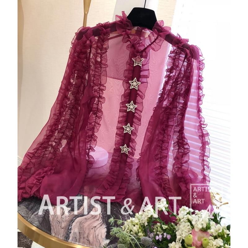 Svoryxiu ВПП пользовательские органза шелковая блузка Топы Для женщин Элегантный фонарь рукав бриллиантами звезда кнопку пикантная Кружевная