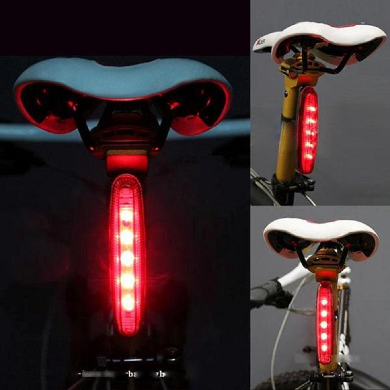 5 LED Cycling Bicycle Bike MTB Caution Security Warning Rear Bike Light Red