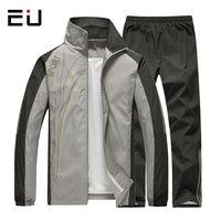 EU 2018 Tracksuit Men Spring Autumn Men Sportswear 2 Piece Set Sporting Suit Jacket Pant Sweatsuit