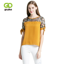 GOPLUS 2019 Spring Floral Embroidery Chiffon T shirt Women O neck Lace Short Sleeve Shirts Ladies Loose Casual Bluse Female Top