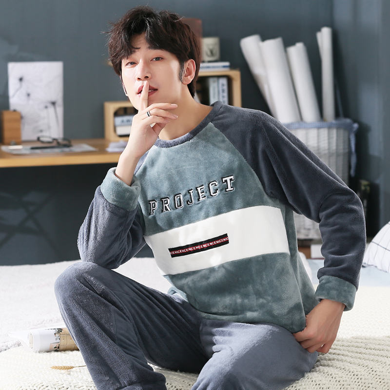 Dropwow plus size 3XL 5XL Winter Flannel Men s Pajama Set Warm ... 051b30cdf