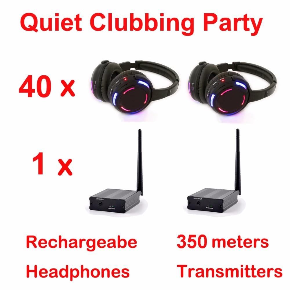 Silent Disco complete system black led wireless headphones - Quiet Clubbing Party Bundle (40 Headphones + 1 Transmitter)Silent Disco complete system black led wireless headphones - Quiet Clubbing Party Bundle (40 Headphones + 1 Transmitter)
