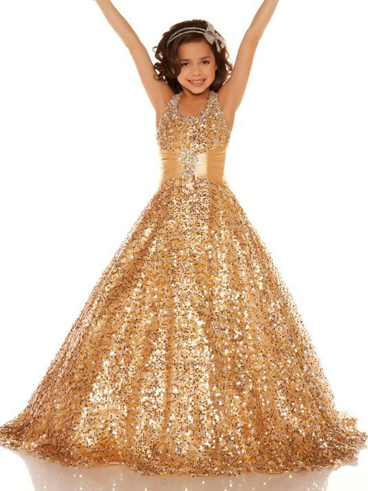 Stunning Beautiful   Girls   Pageant   Dresses   With Sequins Gold Kids Evening   Dress   Halter Ball Gown   Flower     Girl     Dress   Custom