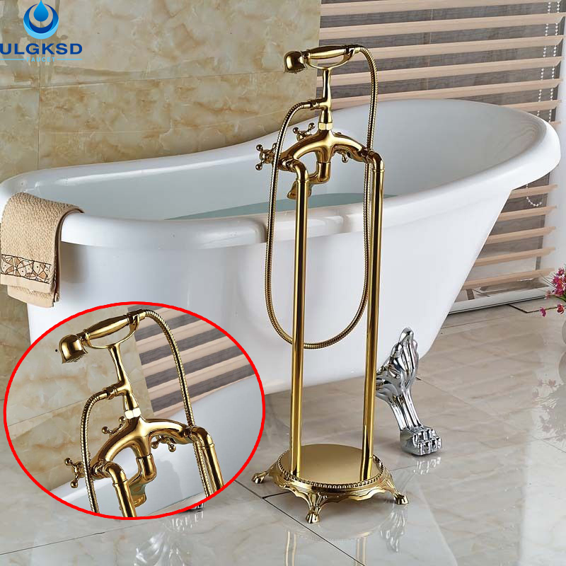 цена Ulgksd Wholesale and Retail Golden Brass Bathroom Tub Faucet W/Hand Shower Tub Filler Bathtub Mixer Tap Faucet2 Cross Vessel