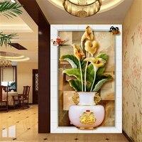 Beibehang 3D Duvar Kağıdı Modern HD Calla Zambak Yeşim Oyma 3D Görüş Koridor Arkaplan Ev Dekorasyon duvar kağıdı duvarlar için 3 d