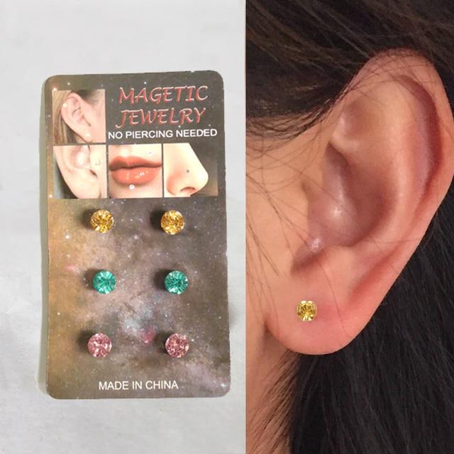 3 pairs Magnetic earring Fake magnet Ear Stud non piercing jewelry.jpg 640x640 - 3 pairs Magnetic earring Fake magnet Ear Stud non piercing jewelry