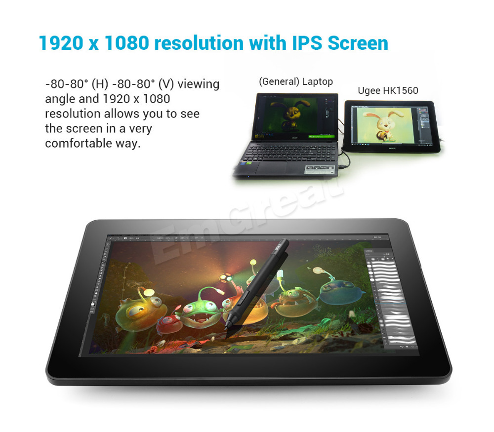 Ugee HK1560 15.6 IPS Art Drawing Graphics Monitor + One-hand Mechanical Keyboard+ USB 3.0 to HDMI Adapter+ Two-Finger Glove
