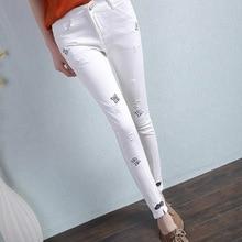 Women White Hole Letter Print Jeans 2017 New Summer Fashion Ladies Denim Penice Pants L687