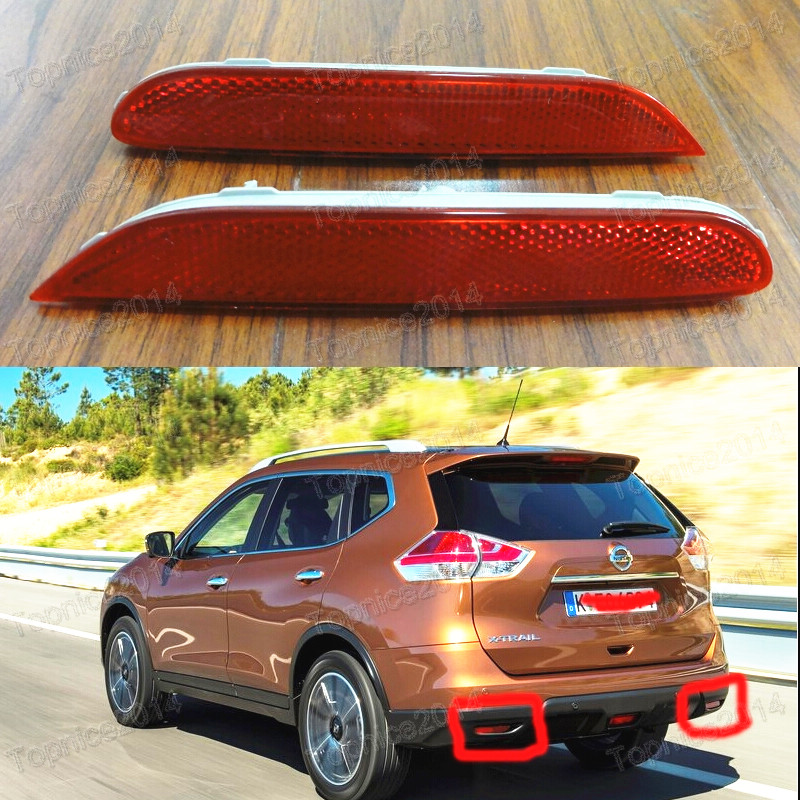ФОТО 1Pair Rear Reflector Light Lamps For NISSAN X-TRAIL 2014-2015