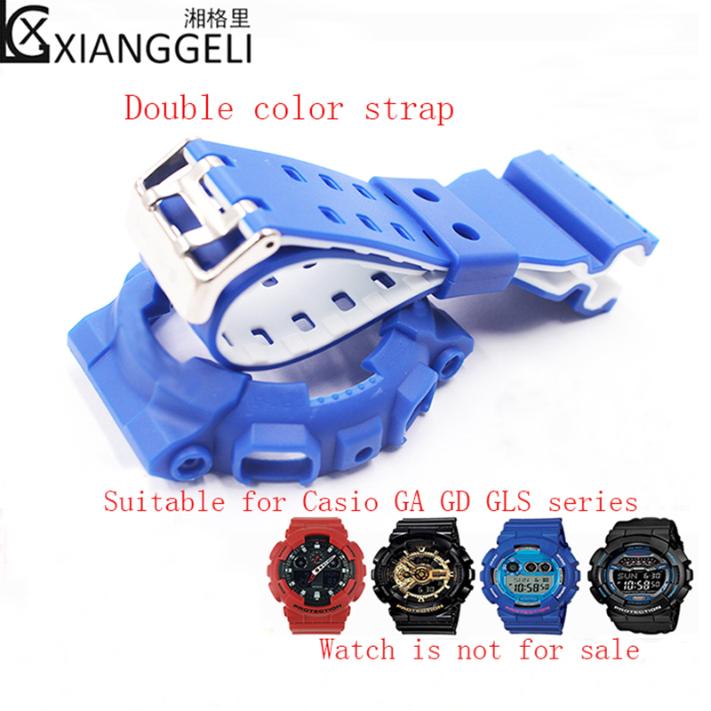 Watch Accessories Double Color Watch Band For Casio G-SHOCK GD-100GD-110 GA-100 /120  Sports Resin Watch Strap Watch Shell