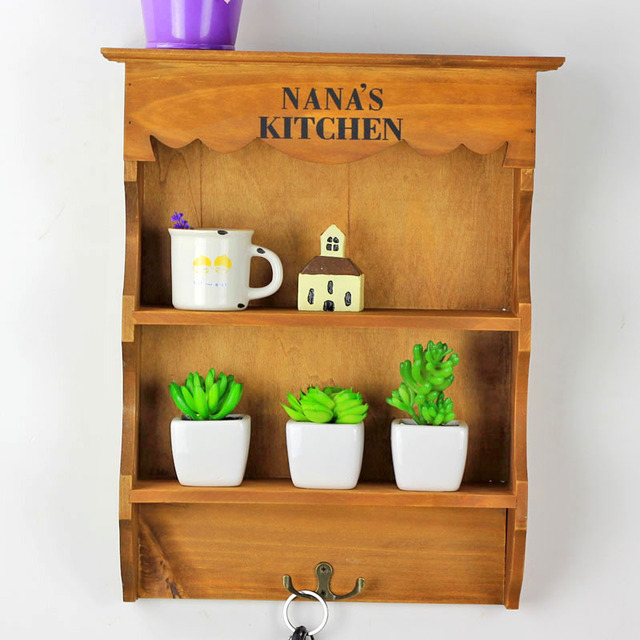 Vintage Retro Storage Shelf With Hooks Wood Sundries For Craft Wall Hanging Wooden Cabinet Antique