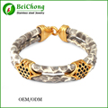 Classical design 2 layers silver buckle snake  bracelets,men's snake skin bracelets BC Free Shipping