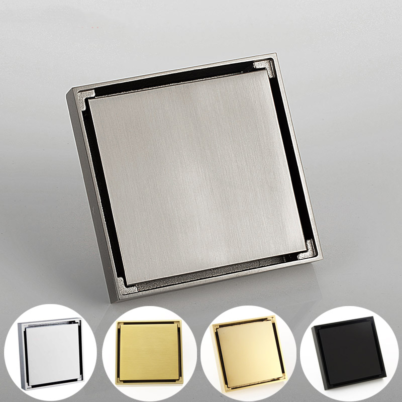 Медный трап душевой для ванной комнаты, напольная сливная квадратная вставка для душа и пола для ванной, хромированная/матовая Золотая/черная/Золотая/матовая|Стоки| | АлиЭкспресс