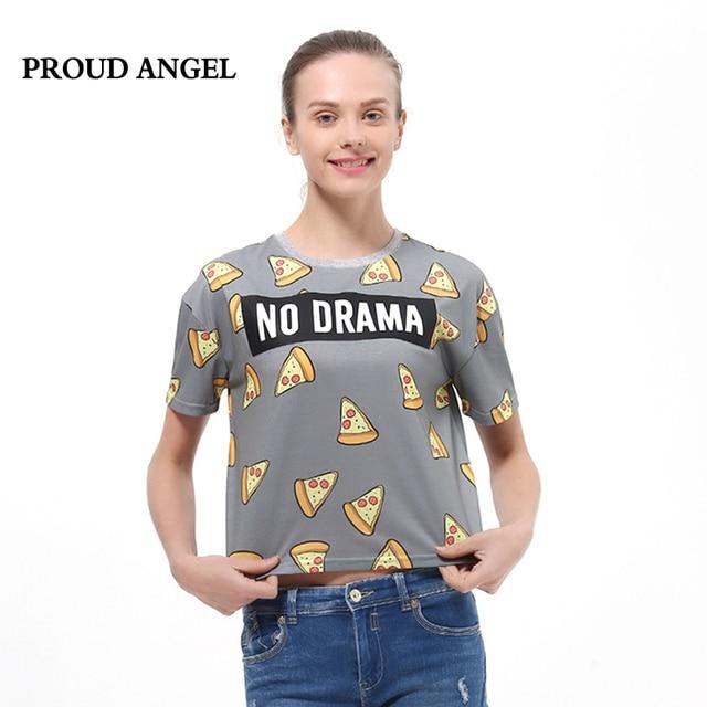 9f1754404 2017 new fashion t-shirt women brand Cute Pizza NO DRAMA Letters Print  Short Sleeve Tops Shirts Casual tops