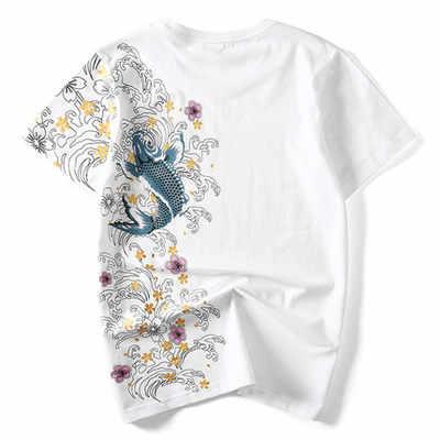 HZIJUE мужские футболки с вышивкой рыбы верхняя брендовая одежда Китайский Японский стиль футболки для мужчин футболки уличная хлопок плюс размер