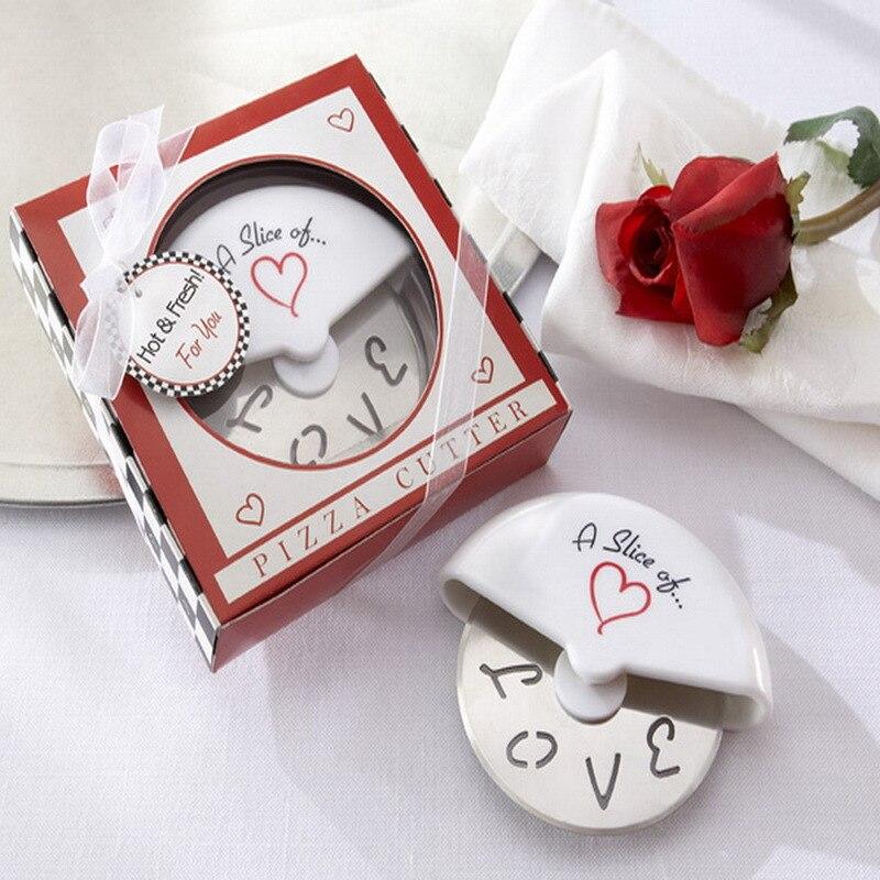 100Sets / Lot + חתונה טובות ומתנות פרוסה של אהבה פיצה קאטר כלה המפלגה מסיבה טובה עבור אורח + משלוח חינם (RWF-0027P)