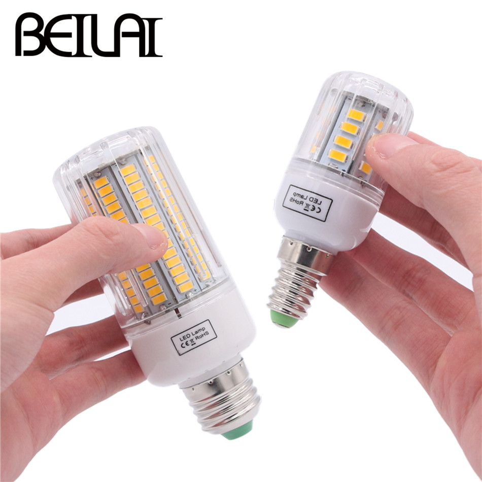 BEILAI 5736 SMD Lampada LED Lamp E27 220V Corn Light E14 LED Bulbs 3W 5W 7W 9W 12W 15W Candle Spotlight Luz Chandelier цена