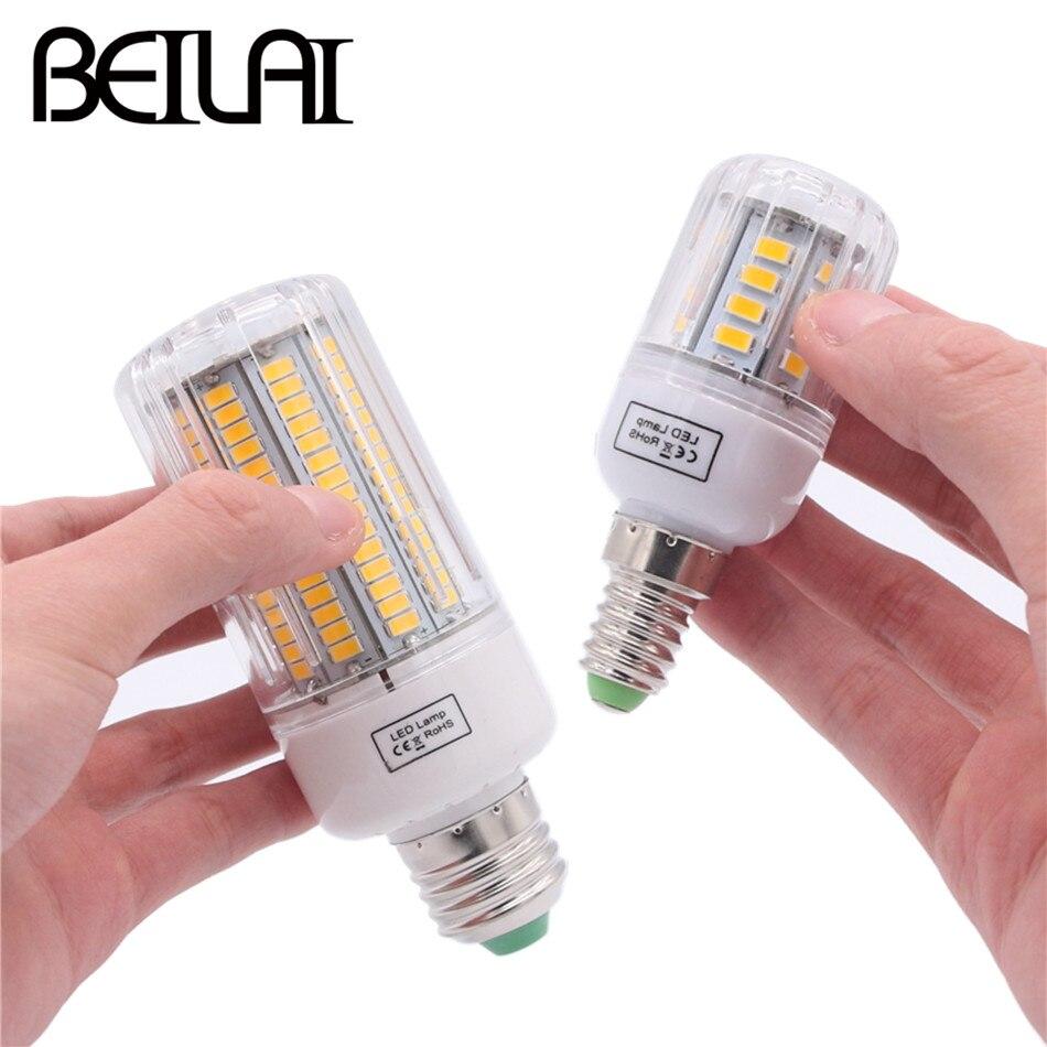BEILAI 5736 SMD Lampada LED Lamp E27 220V Corn Light E14 LED Bulbs 3W 5W 7W 9W 12W 15W Candle Spotlight Luz Chandelier