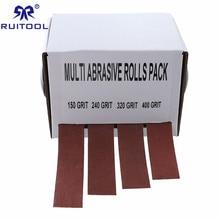 Papel de lija cinta de lijado de tela de esmeril dibujable 4 Uds 25mm * 6m cinturones de molienda rollo de papel de lija suave para Turners de madera, automotriz