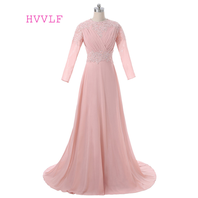 Peach 2018 Muslim Evening Dresses A line Long Sleeves Chiffon Lace ...