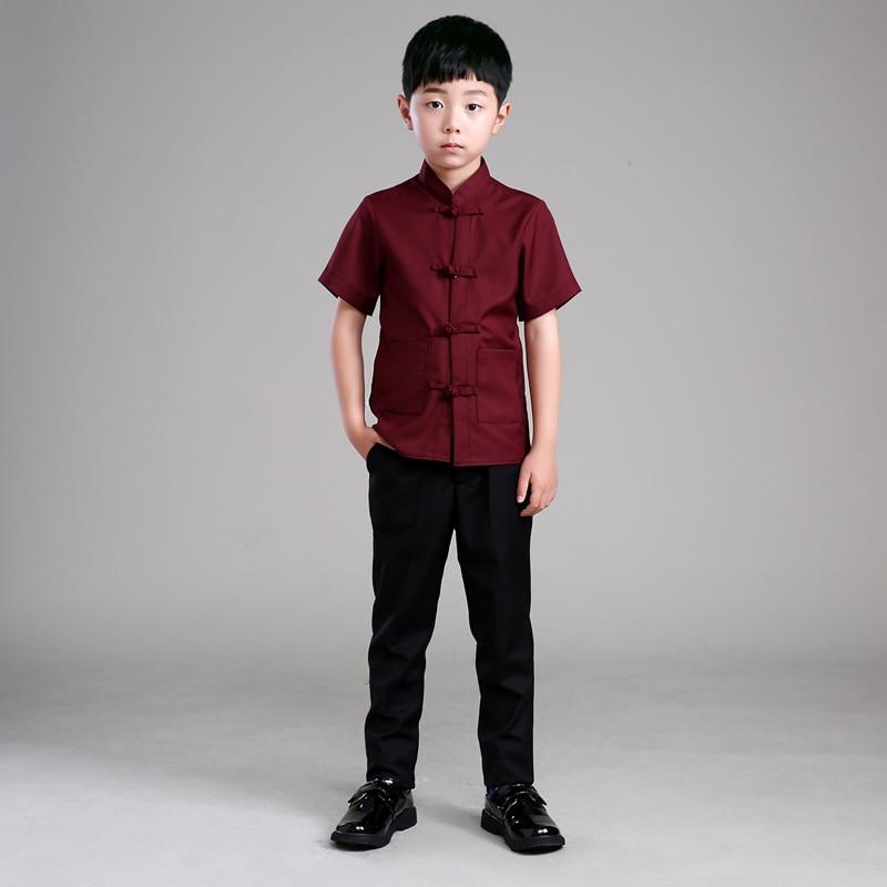 Children Kungfu Costume Boy Tai Chi Clothing Uniform Martial Art Uniform Chinese Tang Suit for Summer Wushu Costume