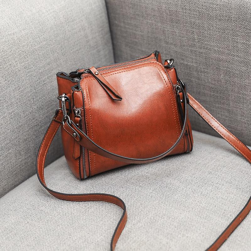 Women\'S Bag Retro Oil Wax Leather Handbag Ladies Handbags Small Bag Shoulder Bags