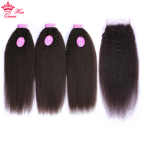 Queen Hair Products Yaki Straight Virgin Human Hair Bundles with Closure Brazilian Kinky Straight Hair Weave with Closure