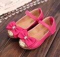 2017 de alta qualidade sandálias de couro simples shoes crianças criança princesa das meninas das crianças bowtie flat shoes