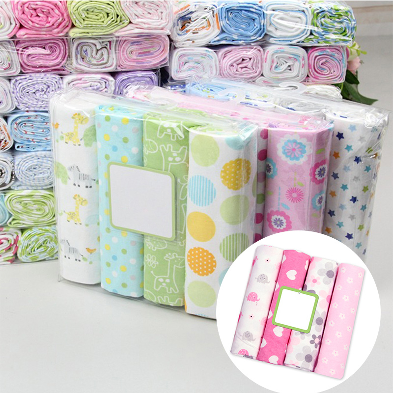 4Pcs/Lot Cotton Muslin Diapers Baby Swaddle Baby Blankets Newborn Muslin Blanket Infant Wrap Soft Children's Blanket Diaper Wrap
