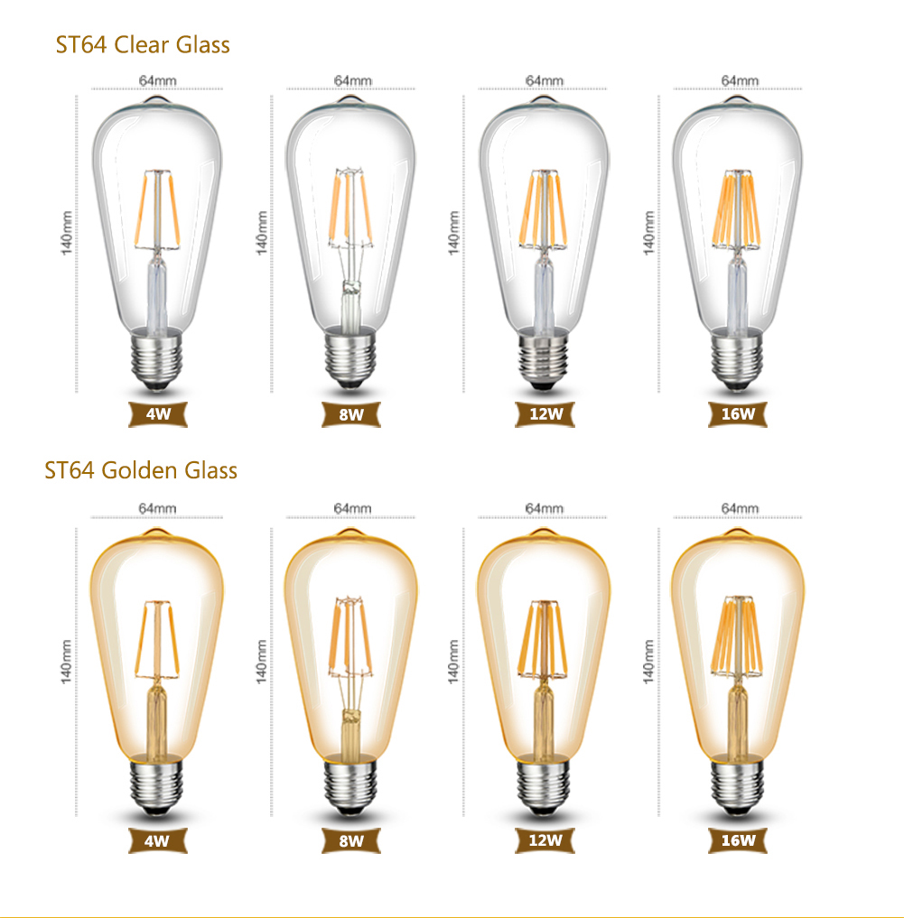 Dimmer LED Filament Bulb E27 Retro Edison Lamp 220V E14 E12 110V Vintage Candle Light Globe Chandelier Lighting COB Home Decor
