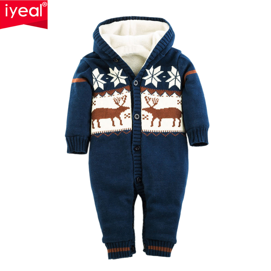 IYEAL Newborn Boys Girls Romper Thick Warm Cotton Knitted Sweater Christmas Deer Hooded Outwear Winter Kid Infant Jumpsuit iyeal winter baby rompers thick baby clothes newborn boys girls warm romper knitted sweater christmas deer hooded outwear