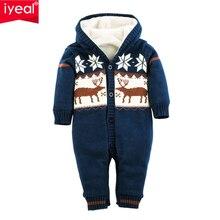 IYEAL новорожденных обувь для мальчиков девочек Комбинезон толстый теплый хлопок вязаный свитер Рождество олень верхняя одежда с ш