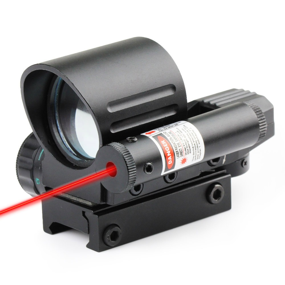 Tactical 4 Reticle Green/Red Dot With Red Laser Combo Holographic Dovetail Sight Hunting Airsoft Optics Reflex Optical Scope