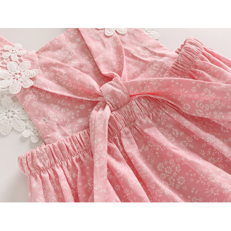 2018 blase Sommer Rosa Farbe Verbunden Bekleidungs Haus Prinzessin Süße Klettern Kleidung Kleine Mädchen Spitze Kleid