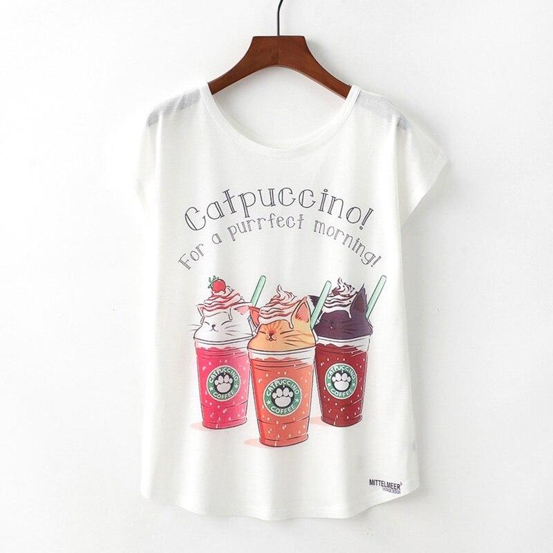 KaiTingu Summer Novelty Women T Shirt Harajuku Kawaii Cute Style Drinking Print T-shirt New Short Sleeve Tops Size M L XL
