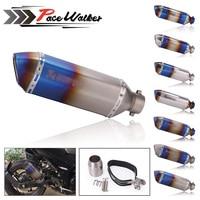 Universal Burning Blue 51MM Motorcycle Exhaust Pipe With DB Killer Muffler MotorBike Escape Pipe For Yamaha Honda KTM Kawasaki