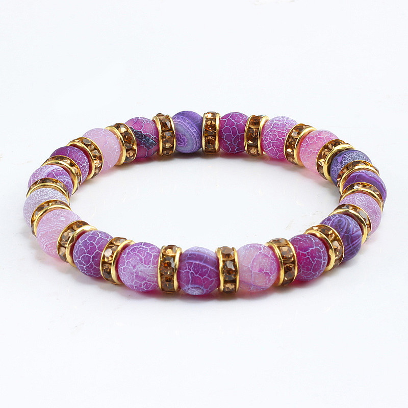 Fashion Handmade Womens Natural Stone Beaded Bracelets Men Jewelry Purple Weathering Beads Strand Bracelet For Couples Pulseras