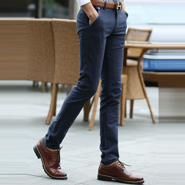 963eec44 2017 Fashion navy blue Casual Pants Men Spring and Summer Pockets Chino  Pants Full Length Slim Fit Mens Dress Pants black