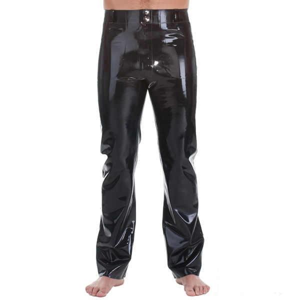 Латексные лаковые джинсы с передним и задним карманом спереди на молнии резиновые латексные брюки для мужчин толщиной 0,4 мм