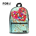 Hot Women Heart Shaped Printing Backpack Student School Backpacks for Teenage Girls Painting Canvas Bagpack Child Kids Mochilas