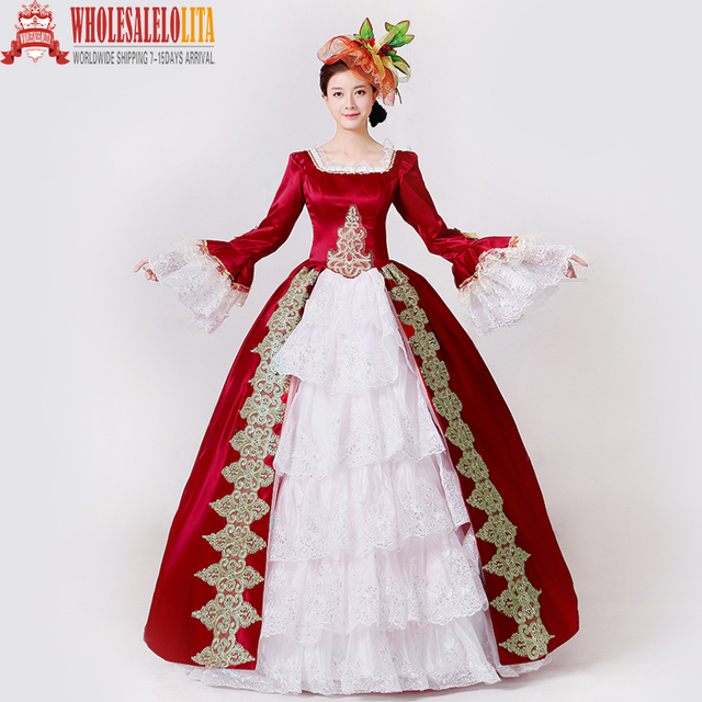 458225724b45 Brand New Red Embroidery Marie Antoinette Dress Civil War Southern Belle  Masquerade Ball Gown Reenactment Women Clothing