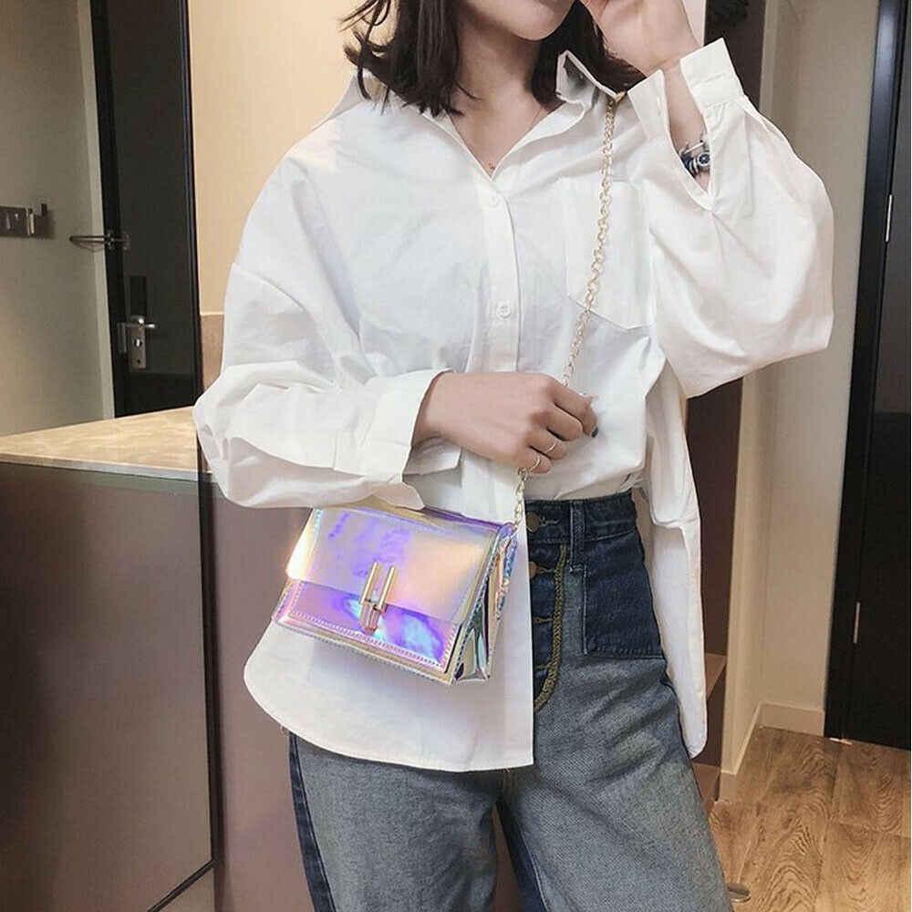 2019 Baru Wanita Tas Kurir Selempang Bahu Tas untuk Wanita Transparan Laser Tas Malam Yang Indah Tas Tangan