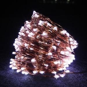 Image 4 - 銅線 Led ストリングライト 10 メートル 20 メートル 30 メートル 50 メートル LED 屋外クリスマスの妖精ライトウォームホワイト星空ライト + アダプタ